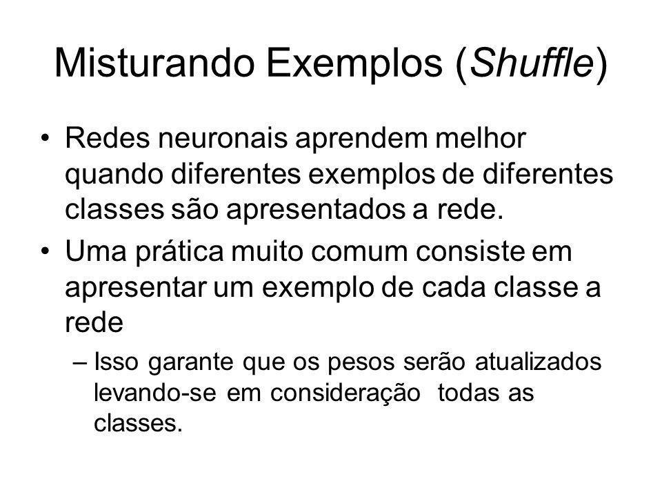 Misturando Exemplos (Shuffle) Redes neuronais aprendem melhor quando diferentes exemplos de diferentes classes são apresentados a rede. Uma prática mu