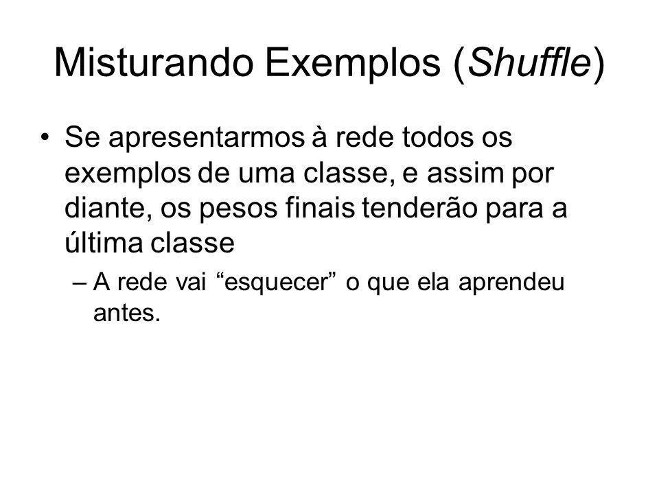 Misturando Exemplos (Shuffle) Se apresentarmos à rede todos os exemplos de uma classe, e assim por diante, os pesos finais tenderão para a última clas