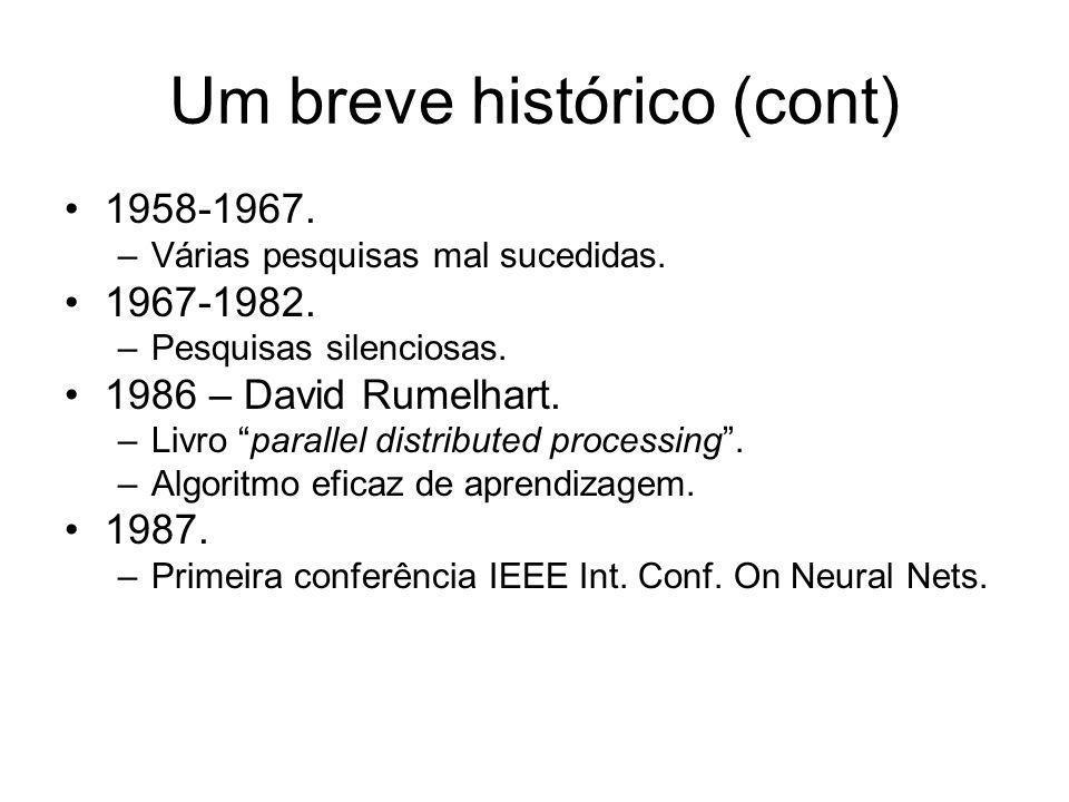 Um breve histórico (cont) 1958-1967. –Várias pesquisas mal sucedidas. 1967-1982. –Pesquisas silenciosas. 1986 – David Rumelhart. –Livro parallel distr