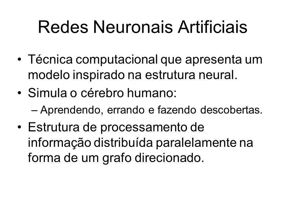 Redes Neuronais Artificiais Técnica computacional que apresenta um modelo inspirado na estrutura neural. Simula o cérebro humano: –Aprendendo, errando
