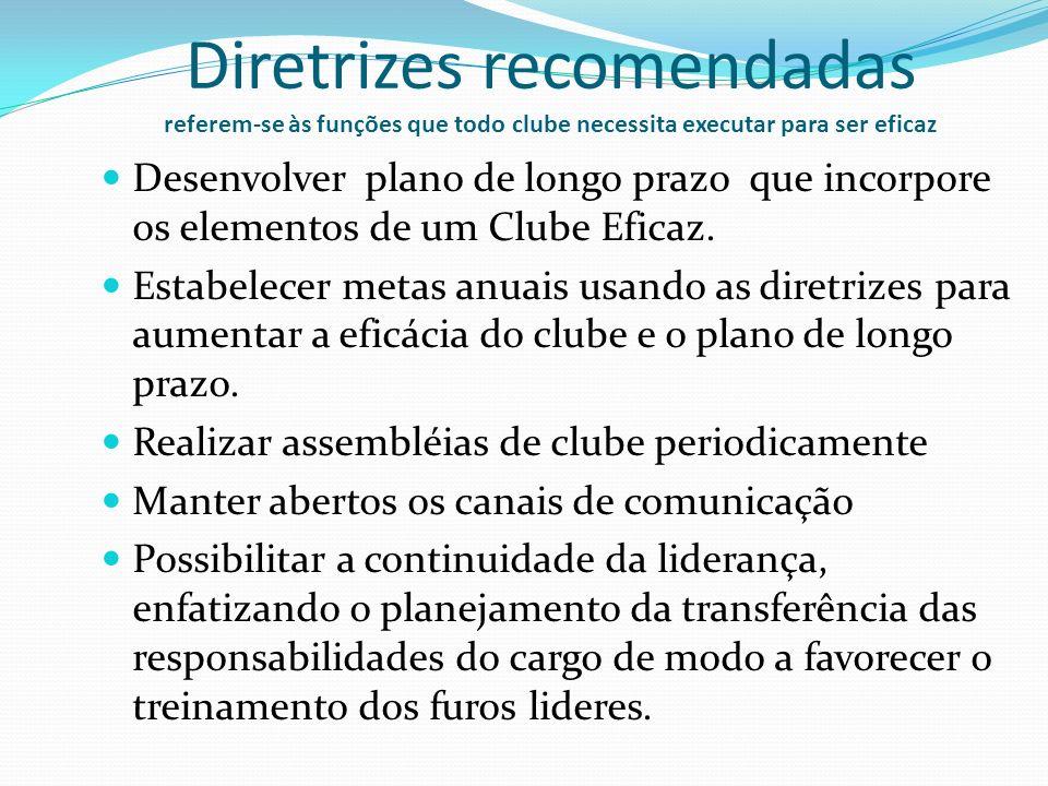 Diretrizes recomendadas referem-se às funções que todo clube necessita executar para ser eficaz Desenvolver plano de longo prazo que incorpore os elem