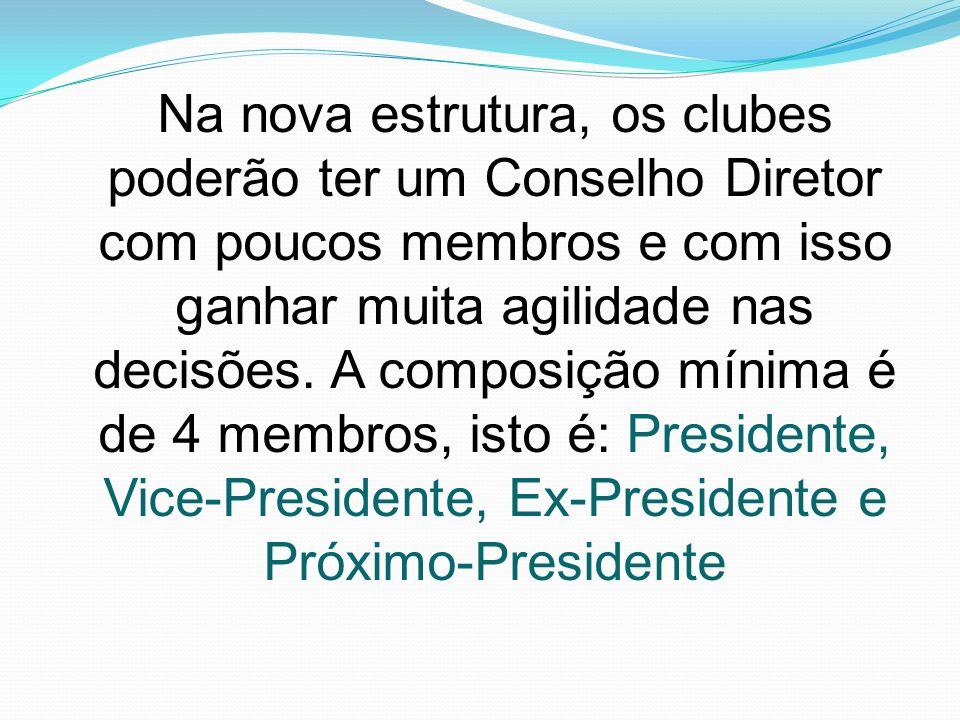 Na nova estrutura, os clubes poderão ter um Conselho Diretor com poucos membros e com isso ganhar muita agilidade nas decisões. A composição mínima é