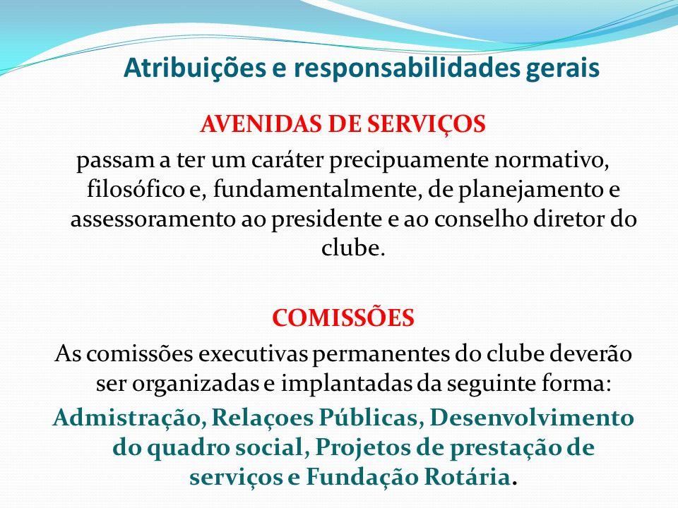 Atribuições e responsabilidades gerais AVENIDAS DE SERVIÇOS passam a ter um caráter precipuamente normativo, filosófico e, fundamentalmente, de planej