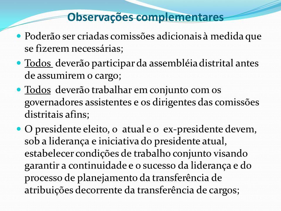 Observações complementares Poderão ser criadas comissões adicionais à medida que se fizerem necessárias; Todos deverão participar da assembléia distri