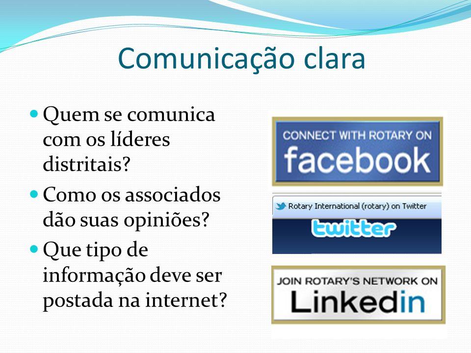 Comunicação clara Quem se comunica com os líderes distritais? Como os associados dão suas opiniões? Que tipo de informação deve ser postada na interne
