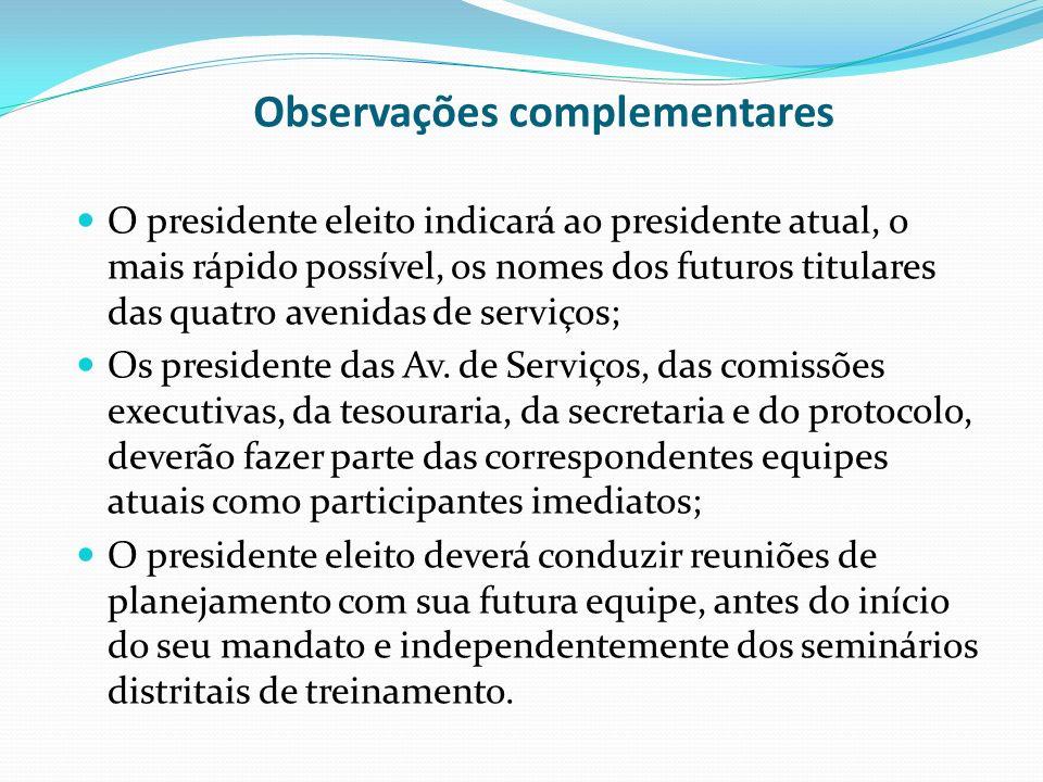 Observações complementares O presidente eleito indicará ao presidente atual, o mais rápido possível, os nomes dos futuros titulares das quatro avenida