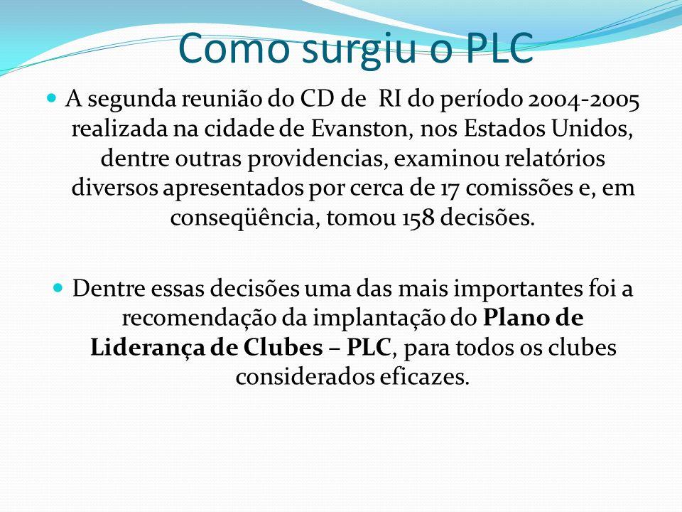 Como surgiu o PLC A segunda reunião do CD de RI do período 2004-2005 realizada na cidade de Evanston, nos Estados Unidos, dentre outras providencias,