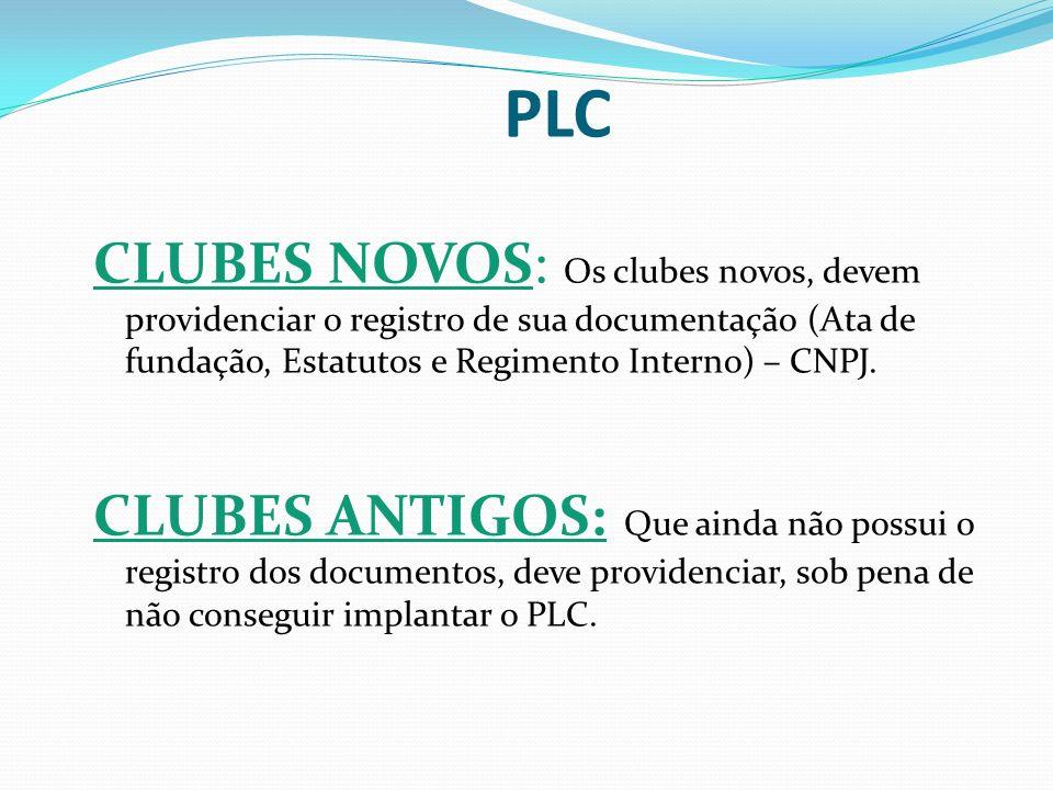 PLC CLUBES NOVOS: Os clubes novos, devem providenciar o registro de sua documentação (Ata de fundação, Estatutos e Regimento Interno) – CNPJ. CLUBES A