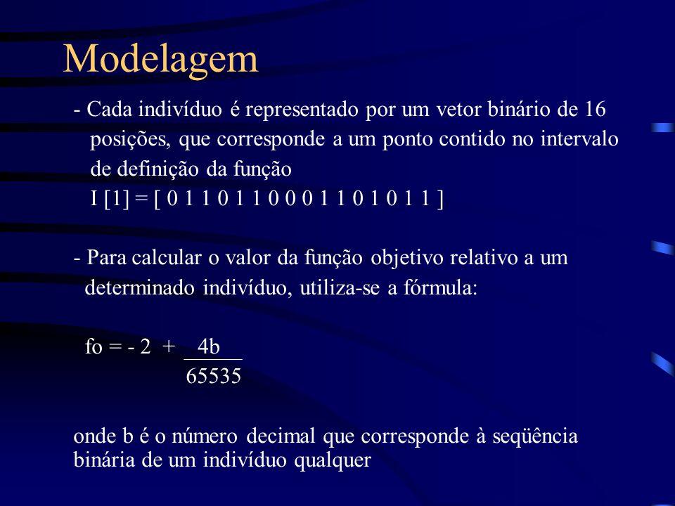 Modelagem - Cada indivíduo é representado por um vetor binário de 16 posições, que corresponde a um ponto contido no intervalo de definição da função