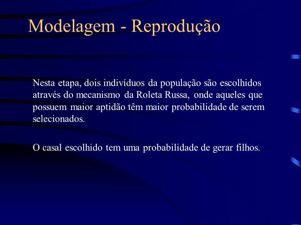 Modelagem - Reprodução Nesta etapa, dois indivíduos da população são escolhidos através do mecanismo da Roleta Russa, onde aqueles que possuem maior a