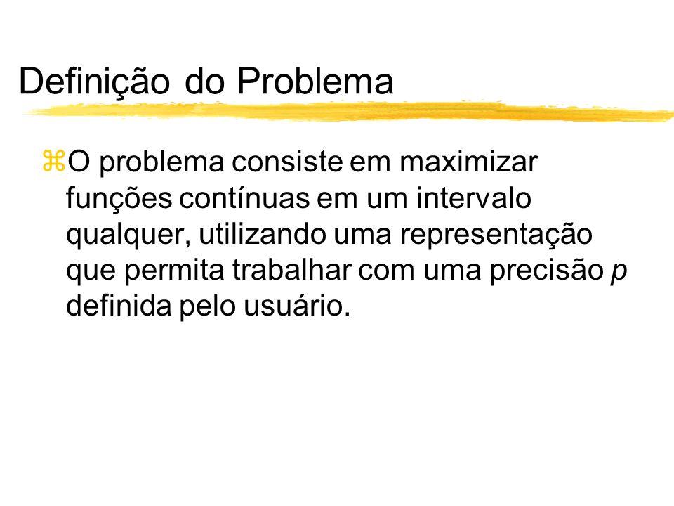 Definição do Problema O problema consiste em maximizar funções contínuas em um intervalo qualquer, utilizando uma representação que permita trabalhar