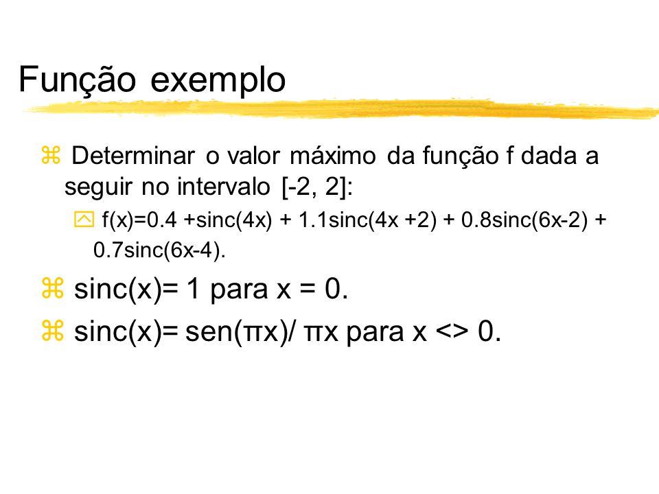 Função exemplo Determinar o valor máximo da função f dada a seguir no intervalo [-2, 2]: f(x)=0.4 +sinc(4x) + 1.1sinc(4x +2) + 0.8sinc(6x-2) + 0.7sinc