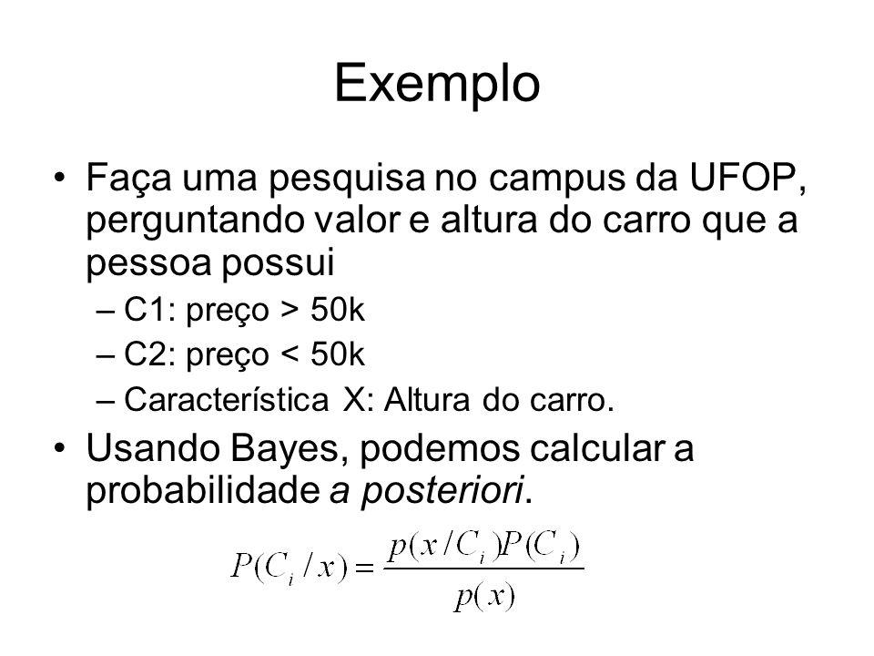 Exemplo Faça uma pesquisa no campus da UFOP, perguntando valor e altura do carro que a pessoa possui –C1: preço > 50k –C2: preço < 50k –Característica X: Altura do carro.