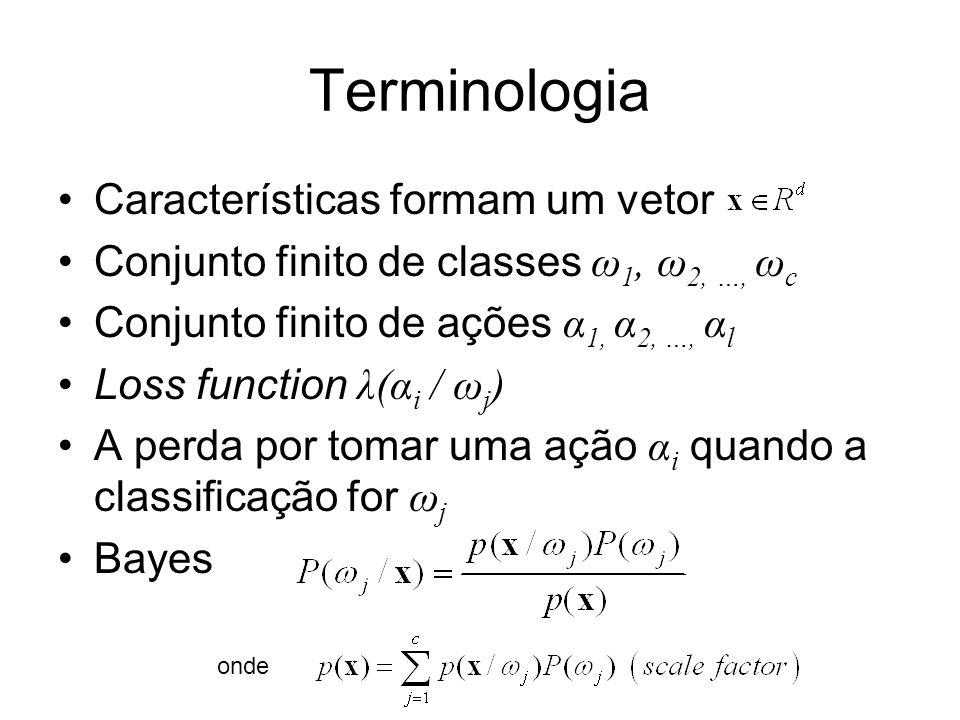Terminologia Características formam um vetor Conjunto finito de classes ω 1, ω 2, …, ω c Conjunto finito de ações α 1, α 2, …, α l Loss function λ(α i / ω j ) A perda por tomar uma ação α i quando a classificação for ω j Bayes onde