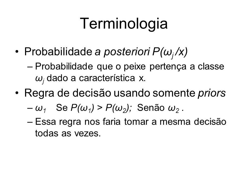 Terminologia Probabilidade a posteriori P(ω j /x) –Probabilidade que o peixe pertença a classe ω j dado a característica x.