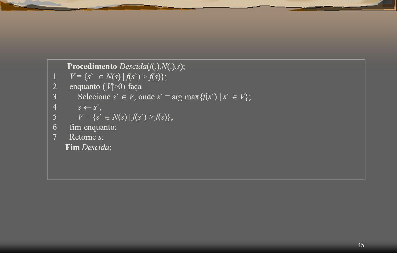15 Procedimento Descida(f(.),N(.),s); 1 V = {s` N(s) | f(s`) > f(s)}; 2 enquanto (|V|>0) faça 3 Selecione s` V, onde s` = arg max{f(s`) | s` V}; 4 s s`; 5 V = {s` N(s) | f(s`) > f(s)}; 6 fim-enquanto; 7 Retorne s; Fim Descida;