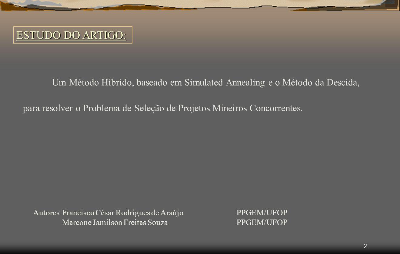 2 ESTUDO DO ARTIGO: Um Método Híbrido, baseado em Simulated Annealing e o Método da Descida, para resolver o Problema de Seleção de Projetos Mineiros Concorrentes.