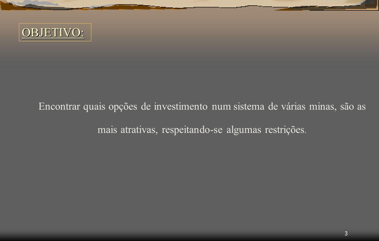 3 OBJETIVO: Encontrar quais opções de investimento num sistema de várias minas, são as mais atrativas, respeitando-se algumas restrições.