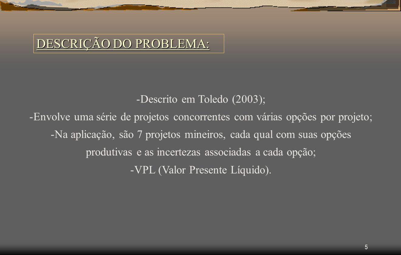 5 DESCRIÇÃO DO PROBLEMA: -Descrito em Toledo (2003); -Envolve uma série de projetos concorrentes com várias opções por projeto; -Na aplicação, são 7 projetos mineiros, cada qual com suas opções produtivas e as incertezas associadas a cada opção; -VPL (Valor Presente Líquido).