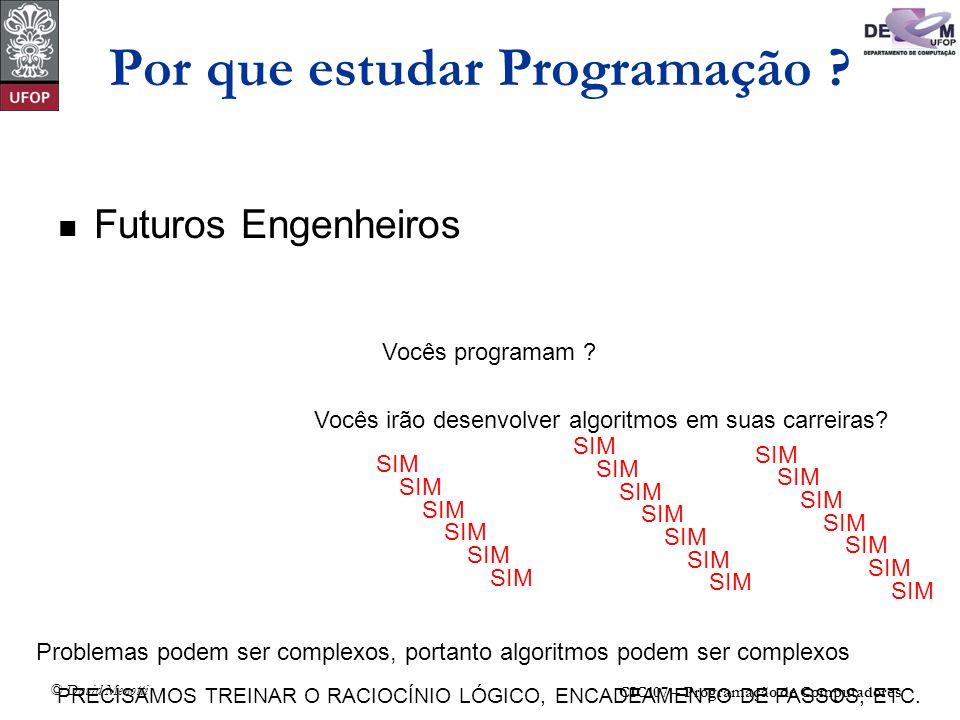 CIC107 – Programação de Computadores © David Menotti Por que estudar Programação ? Futuros Engenheiros Vocês programam ? Vocês irão desenvolver algori