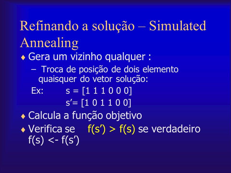 Refinando a solução – Simulated Annealing Gera um vizinho qualquer : – Troca de posição de dois elemento quaisquer do vetor solução: Ex:s = [1 1 1 0 0
