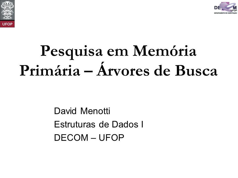 © David Menotti Estrutura de Dados I Árvores de Pesquisa A árvore de pesquisa é uma estrutura de dados muito eficiente para armazenar informação.