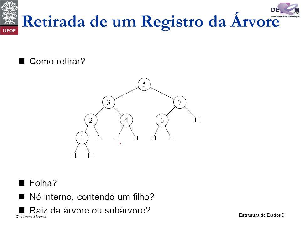 © David Menotti Estrutura de Dados I Como retirar? Folha? Nó interno, contendo um filho? Raiz da árvore ou subárvore? Retirada de um Registro da Árvor