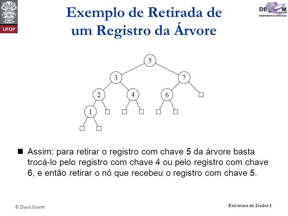 © David Menotti Estrutura de Dados I Assim: para retirar o registro com chave 5 da árvore basta trocá-lo pelo registro com chave 4 ou pelo registro co