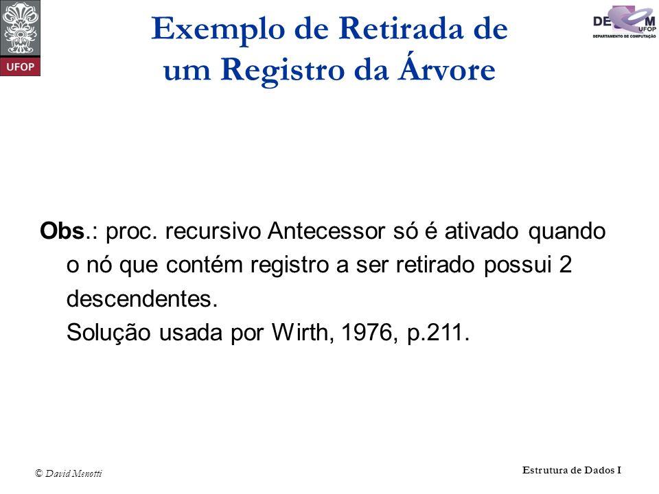 © David Menotti Estrutura de Dados I Obs.: proc. recursivo Antecessor só é ativado quando o nó que contém registro a ser retirado possui 2 descendente