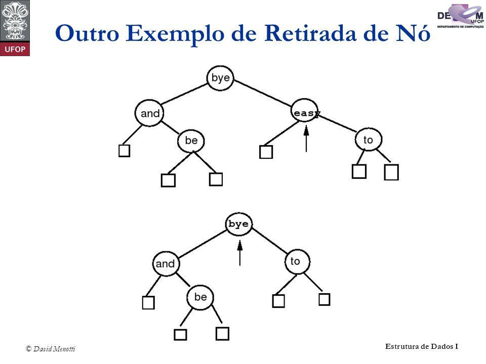 © David Menotti Estrutura de Dados I Outro Exemplo de Retirada de Nó