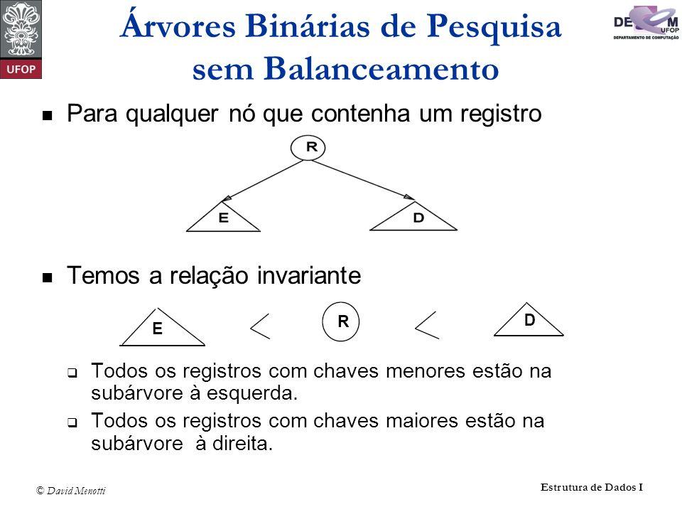 © David Menotti Estrutura de Dados I O procedimento Central é mostrado abaixo: void Central(Apontador p) { if (p == NULL) return; Central(p->pEsq); printf( %ld\n , p->Reg.Chave); Central(p->pDir); } Caminhamento Central
