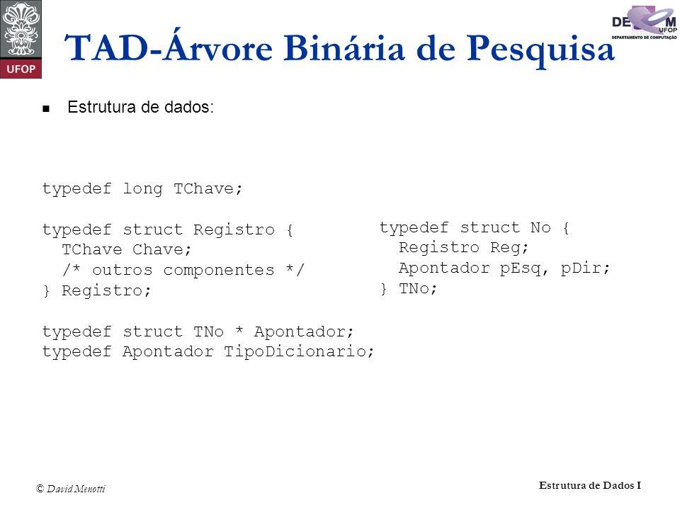© David Menotti Estrutura de Dados I TAD-Árvore Binária de Pesquisa Estrutura de dados: typedef long TChave; typedef struct Registro { TChave Chave; /