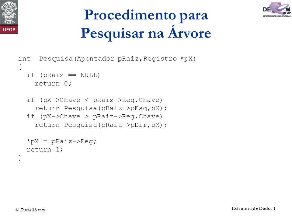 © David Menotti Estrutura de Dados I void Antecessor(Apontador q, Apontador *r) { Apontador aux; if ( (*r)->pDir != NULL) { Antecessor(q, &(*r)->pDir); return; } q->Reg = (*r)->Reg; aux = *r; *r = (*r)->pEsq; free(aux); } Exemplo de Retirada de um Registro da Árvore