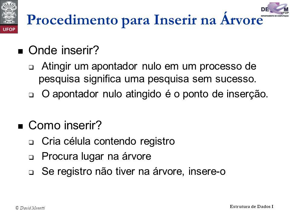 © David Menotti Estrutura de Dados I int Insere(No** ppR,Registro x) { if (*ppR == NULL) { *ppR = CriaNo(X); return 1; } if (X.Chave Reg.Chave) return Insere(x, &((*ppR)->pEsq) ); if (X.Chave > (*ppR)->Reg.Chave) return Insere(x, &((*ppR)->pDir) ); return 0; /* elemento jah existe */ } Procedimento para Inserir na Árvore