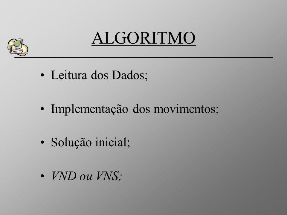 Leitura dos Dados; Implementação dos movimentos; Solução inicial; VND ou VNS; ALGORITMO