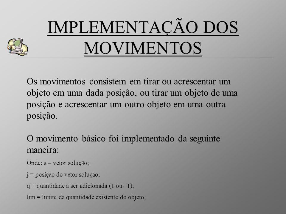IMPLEMENTAÇÃO DOS MOVIMENTOS Os movimentos consistem em tirar ou acrescentar um objeto em uma dada posição, ou tirar um objeto de uma posição e acresc
