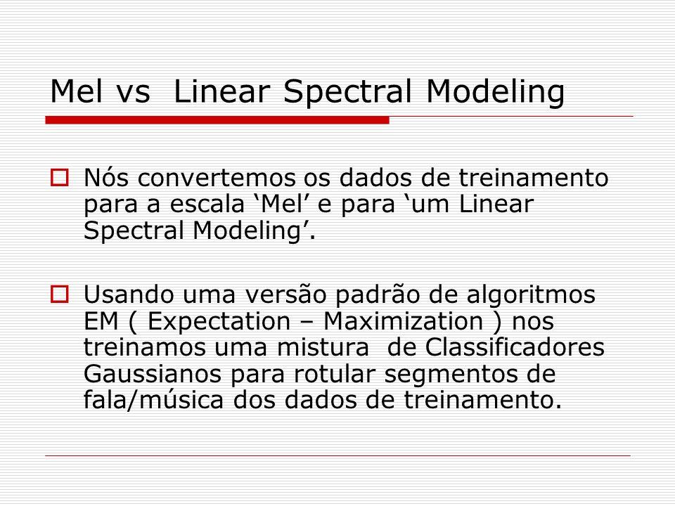 Mel vs Linear Spectral Modeling Nós convertemos os dados de treinamento para a escala Mel e para um Linear Spectral Modeling. Usando uma versão padrão