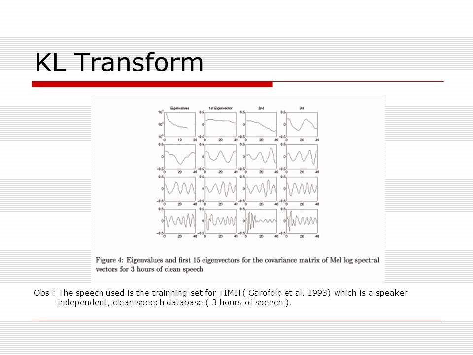 KL Transform Obs : The speech used is the trainning set for TIMIT( Garofolo et al. 1993) which is a speaker independent, clean speech database ( 3 hou