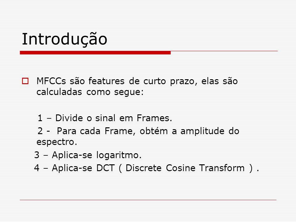 Introdução MFCCs são features de curto prazo, elas são calculadas como segue: 1 – Divide o sinal em Frames. 2 - Para cada Frame, obtém a amplitude do
