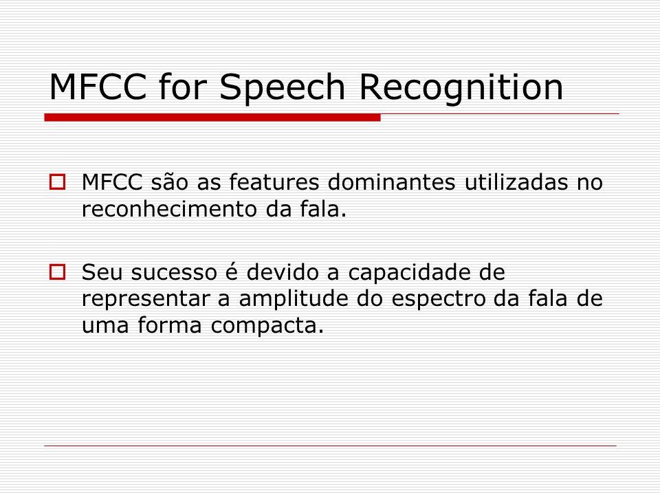 MFCC for Speech Recognition MFCC são as features dominantes utilizadas no reconhecimento da fala. Seu sucesso é devido a capacidade de representar a a