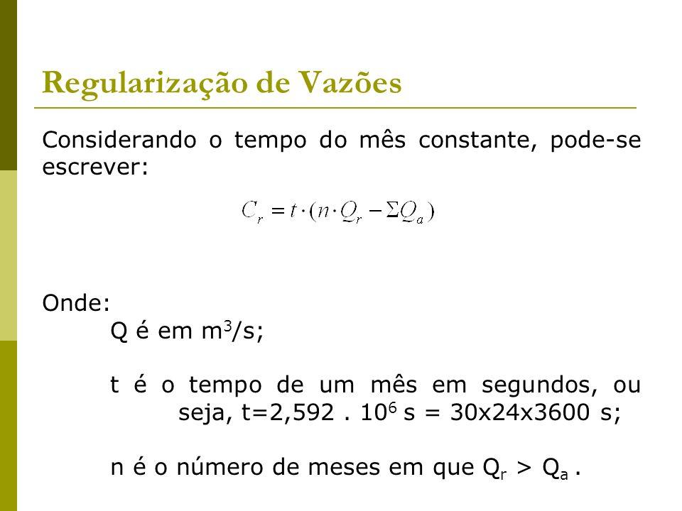 Regularização de Vazões Considerando o tempo do mês constante, pode-se escrever: Onde: Q é em m 3 /s; t é o tempo de um mês em segundos, ou seja, t=2,