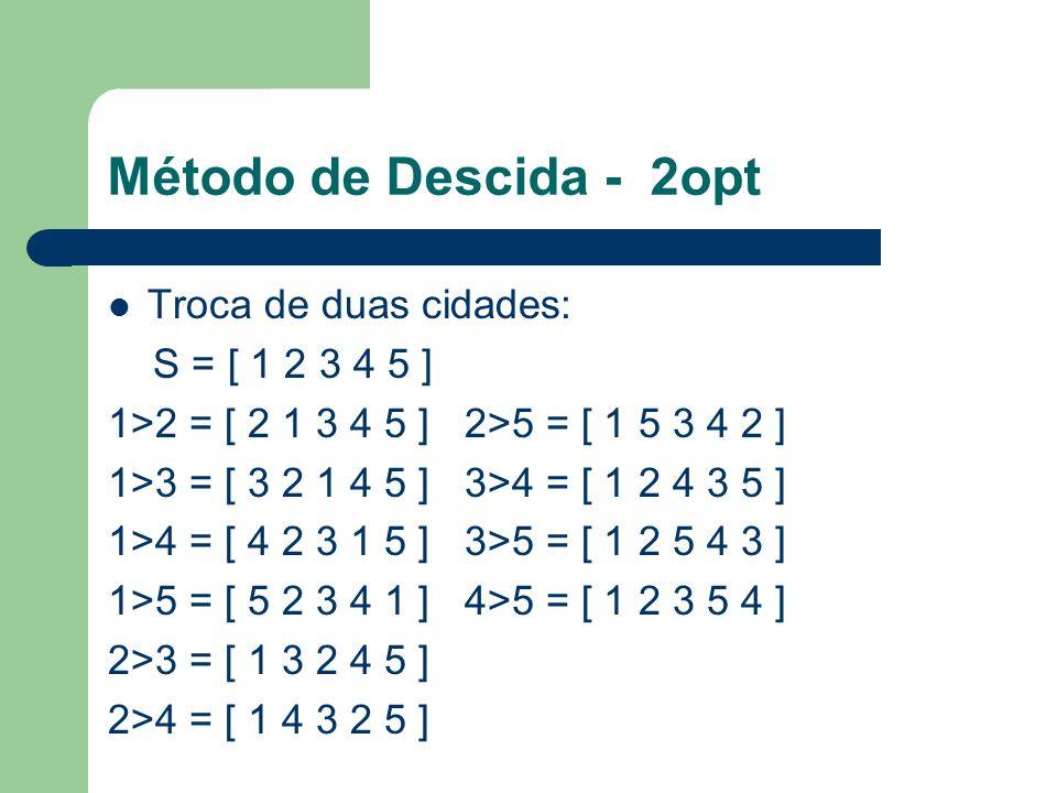 Método de Descida - 2opt Troca de duas cidades: S = [ 1 2 3 4 5 ] 1>2 = [ 2 1 3 4 5 ] 2>5 = [ 1 5 3 4 2 ] 1>3 = [ 3 2 1 4 5 ] 3>4 = [ 1 2 4 3 5 ] 1>4