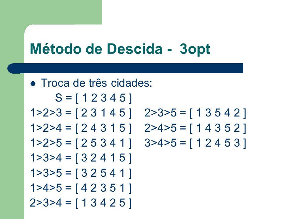 Método de Descida - 3opt Troca de três cidades: S = [ 1 2 3 4 5 ] 1>2>3 = [ 2 3 1 4 5 ] 2>3>5 = [ 1 3 5 4 2 ] 1>2>4 = [ 2 4 3 1 5 ] 2>4>5 = [ 1 4 3 5