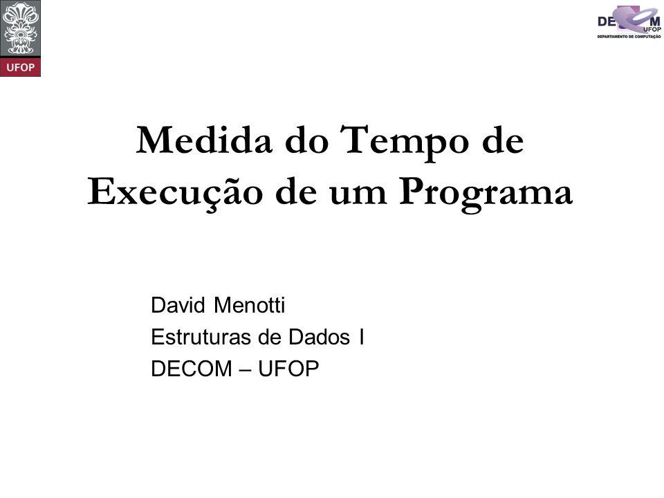 © David Menotti Estruturas de Dados I O parâmetro n fornece uma medida da dificuldade para se resolver o problema.