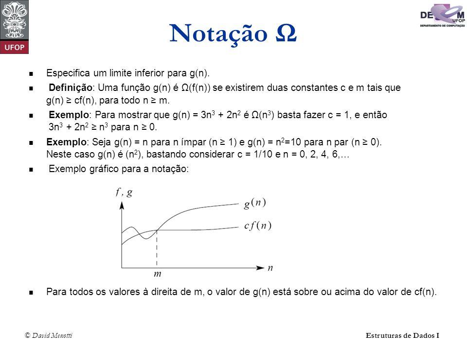 © David Menotti Estruturas de Dados I Notação Ω Especifica um limite inferior para g(n). Definição: Uma função g(n) é Ω(f(n)) se existirem duas consta