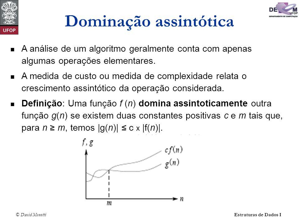 © David Menotti Estruturas de Dados I A análise de um algoritmo geralmente conta com apenas algumas operações elementares. A medida de custo ou medida