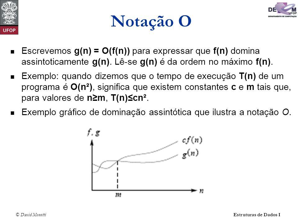 © David Menotti Estruturas de Dados I Escrevemos g(n) = O(f(n)) para expressar que f(n) domina assintoticamente g(n). Lê-se g(n) é da ordem no máximo