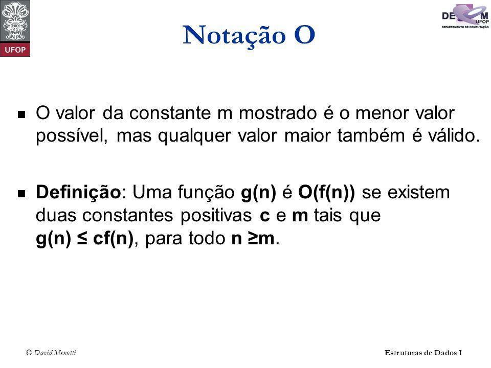 © David Menotti Estruturas de Dados I O valor da constante m mostrado é o menor valor possível, mas qualquer valor maior também é válido. Definição: U
