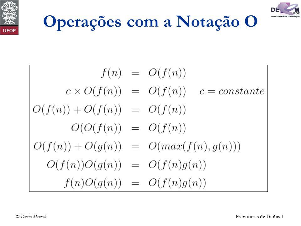 © David Menotti Estruturas de Dados I Exemplo: regra da soma O(f(n)) + O(g(n)).