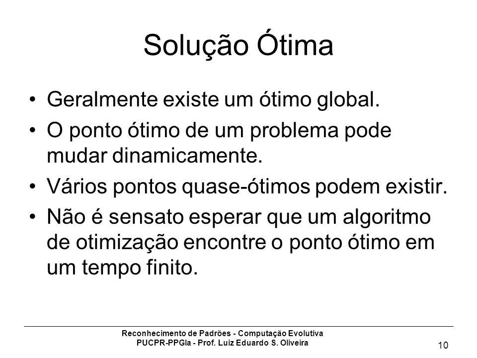Reconhecimento de Padrões - Computação Evolutiva PUCPR-PPGIa - Prof. Luiz Eduardo S. Oliveira 10 Solução Ótima Geralmente existe um ótimo global. O po